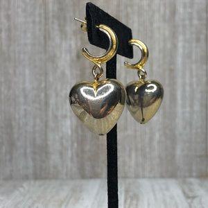 Vintage Puffy Heart Multi-metal Hoop Earrings